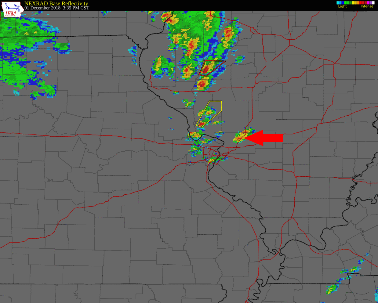 Radar at 3:35 pm, with the arrow pointing to the storm sitting approximately over Hamel, IL along I-55.